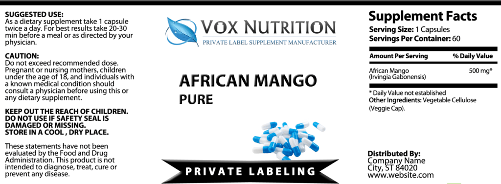 private label african mango pure weight loss vitamin supplement label