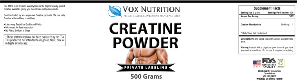 private label creatine monohydrate powder