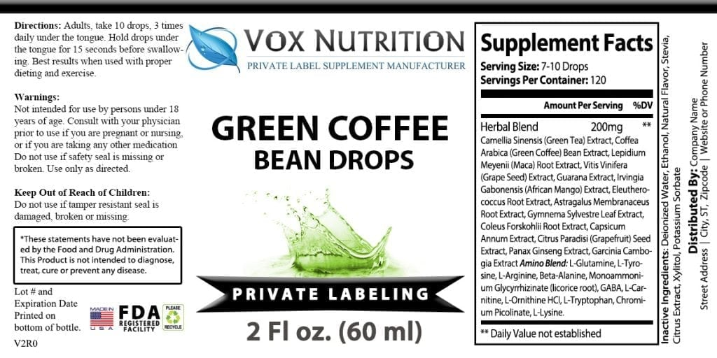 Updated Private Label Green Coffee Bean Drops Weight Loss Supplement