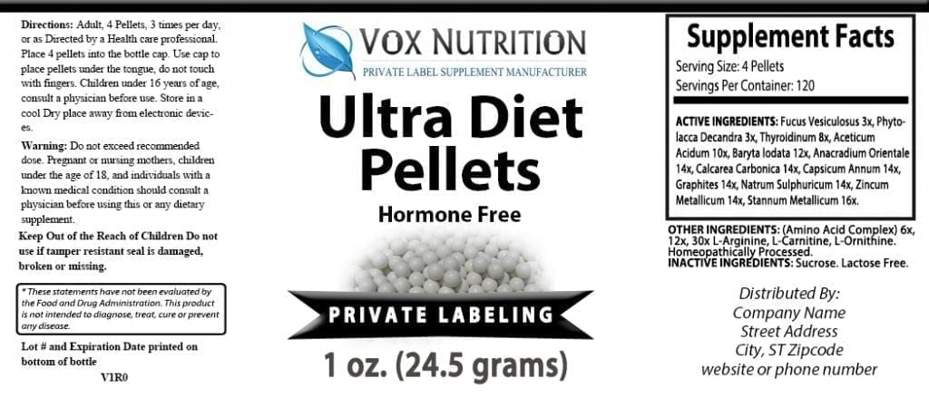 Private label weight loss hormone free pellets diet supplements
