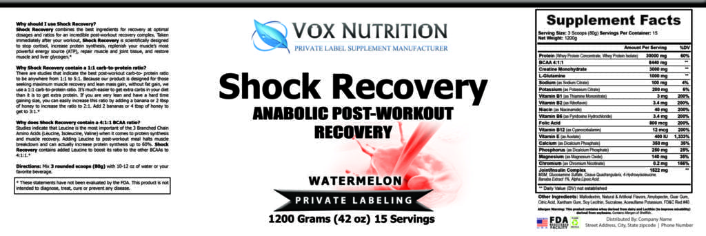 private label shock recovery sports nutrition supplement label