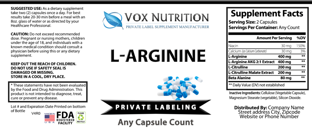 Pvate Label L-Arginine Sports Nutrition Vitamin Supplement ...