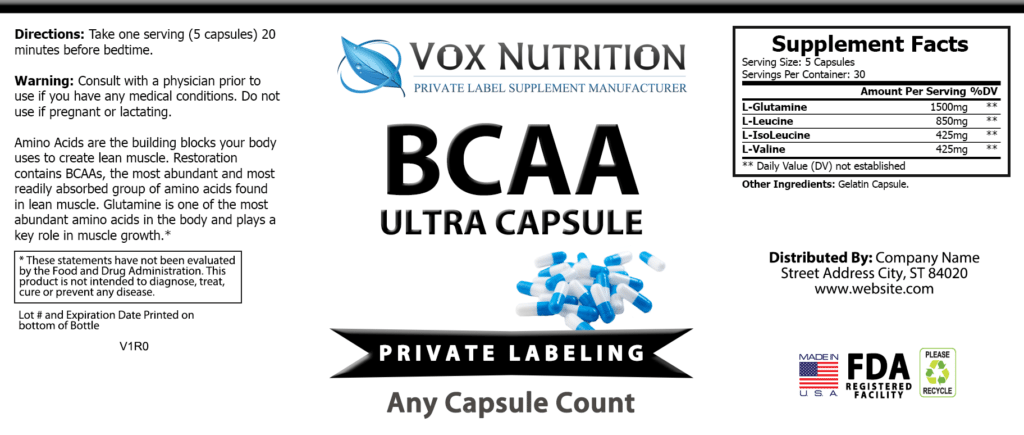 private label bcaa capsules sports nutrition supplement label
