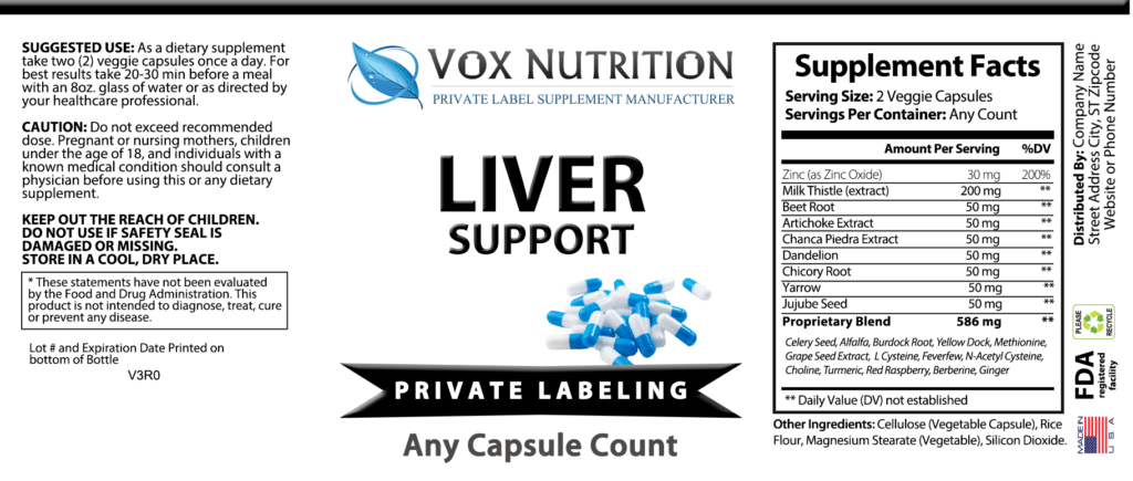 Private Label Liver Support Vitamin Supplement Vox Nutrition