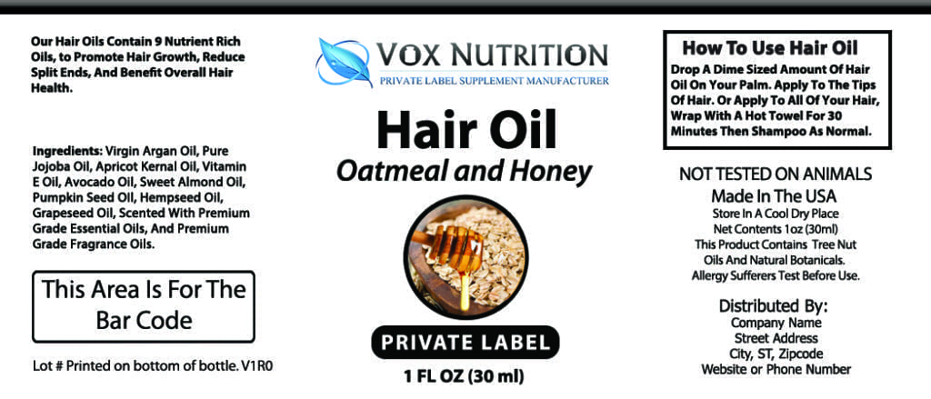 Private Label Hair Oil Vitamin Hair Care Supplement Vox Nutrition