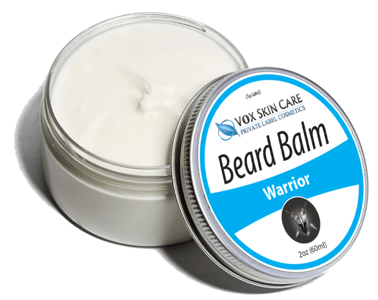private label beard balm Warrior scent skin and hair care product