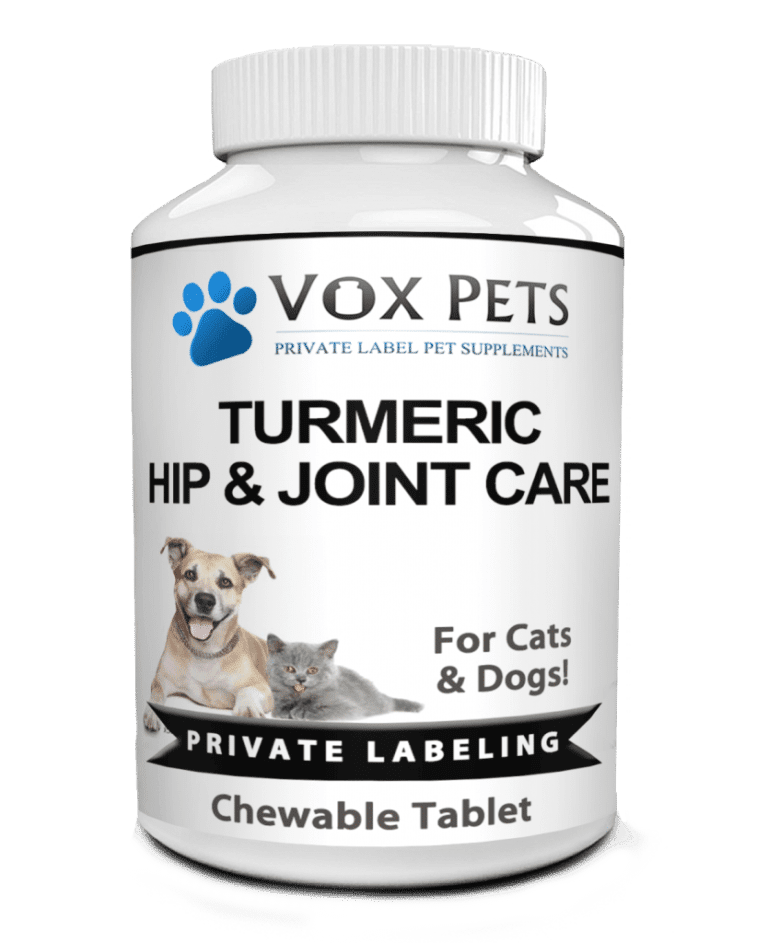 private label turmeric hip and joint care pet supplement