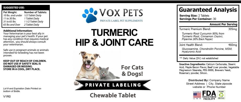 Private Label Turmeric Hip & Joint Care Pet Supplement | Vox