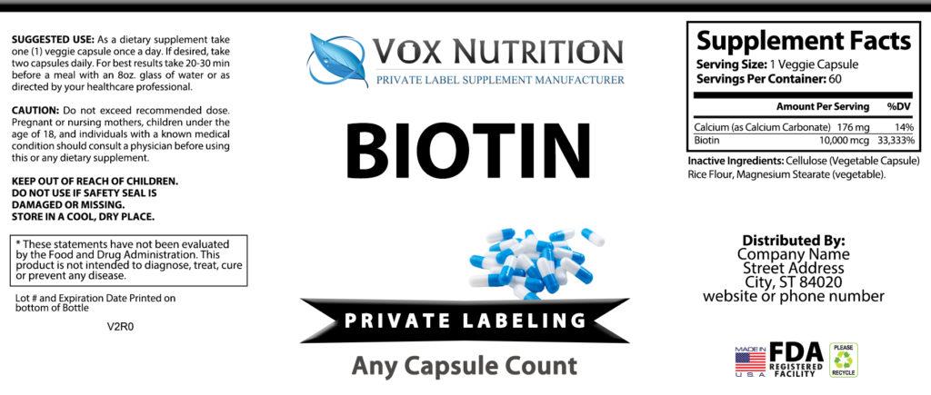 private label biotin vitamin supplement label