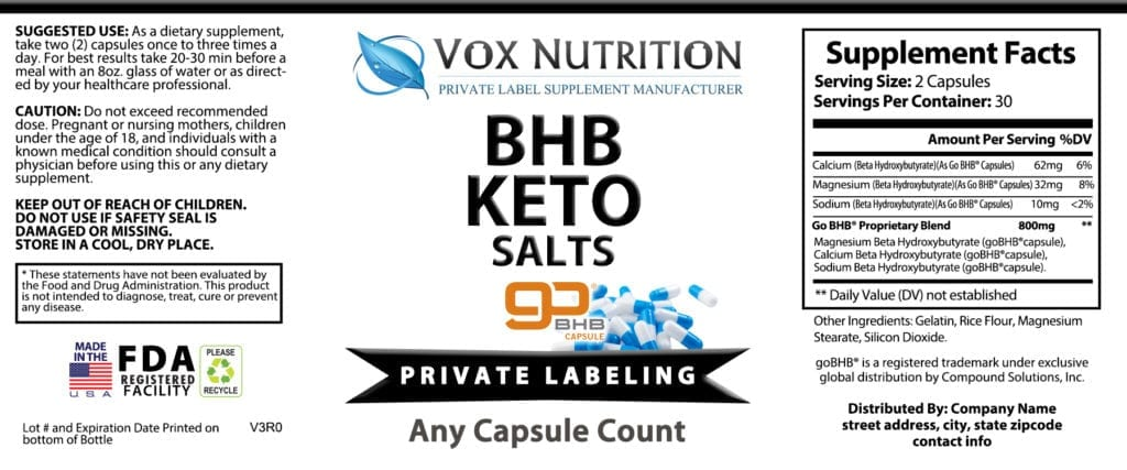 private label bhb keto salts weight loss supplement