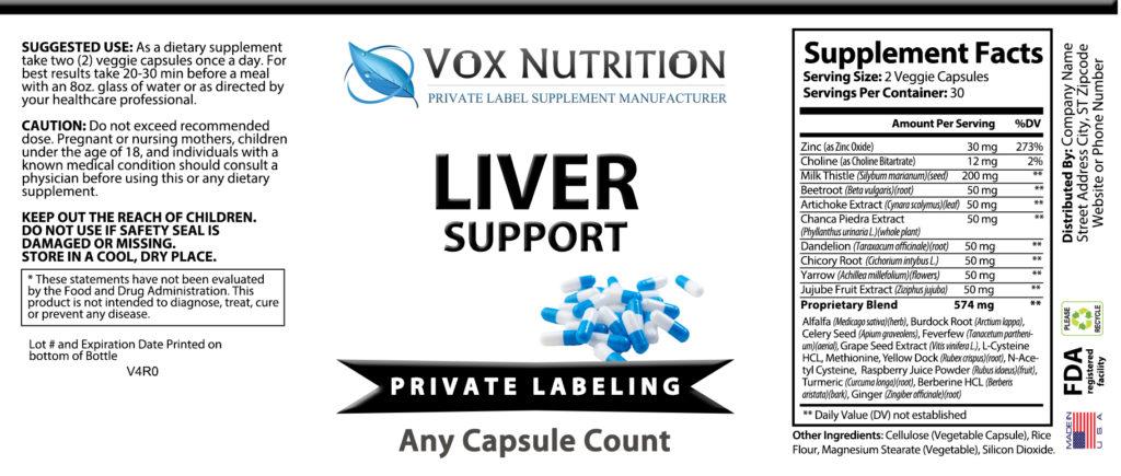 private label liver support vitamin supplement label