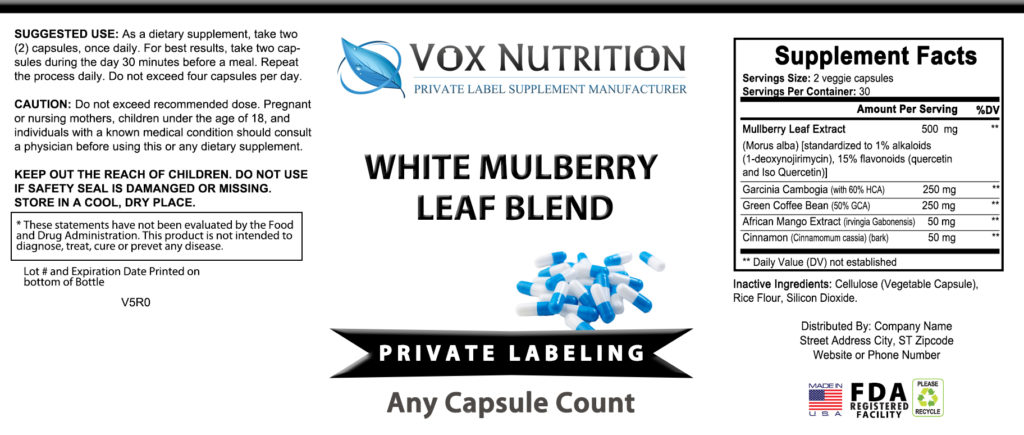 private label white mulberry leaf blend vitamin supplement label