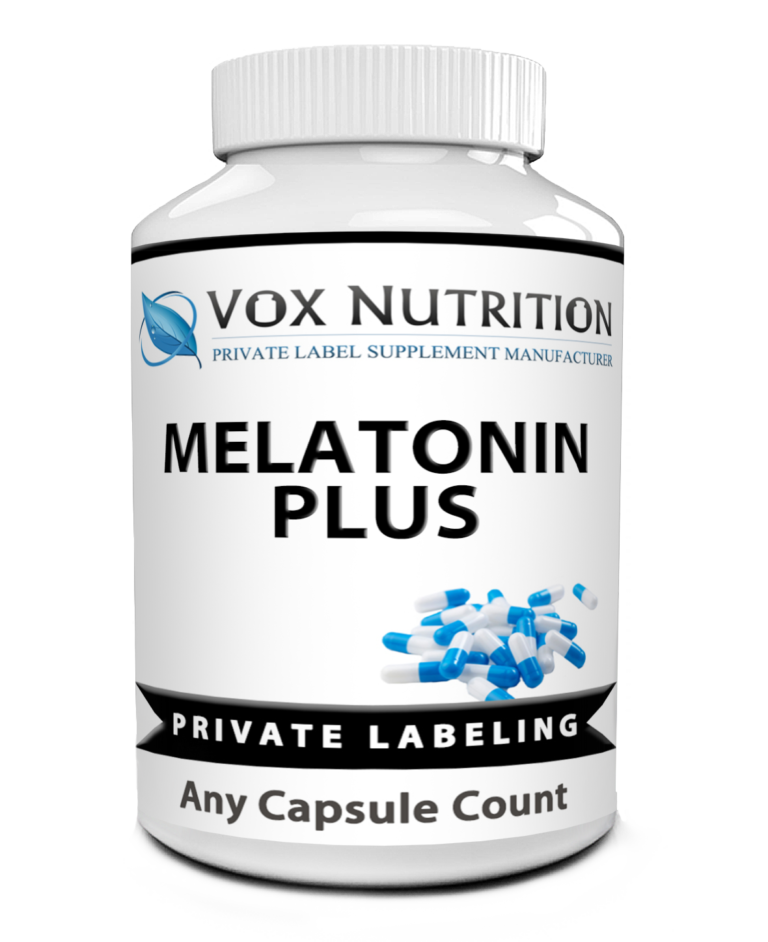 private label melatonin plus formula supplement bottle
