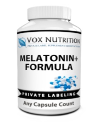 private label melatonin+ formula supplement bottle