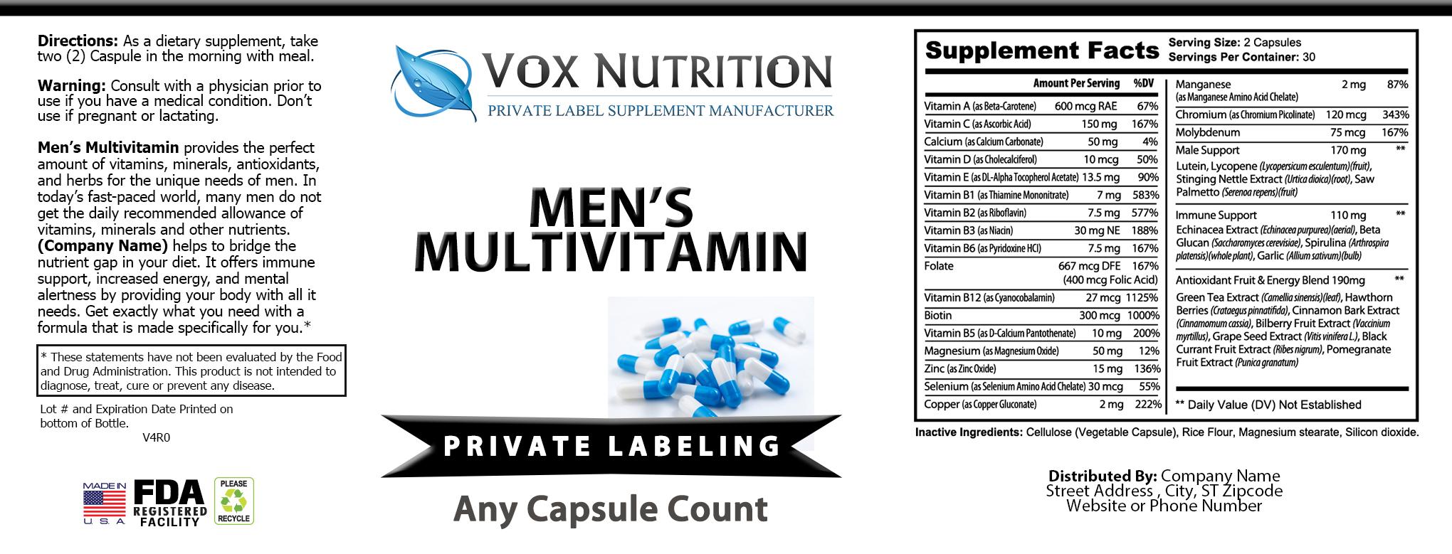 private label mens multi vitamin supplement