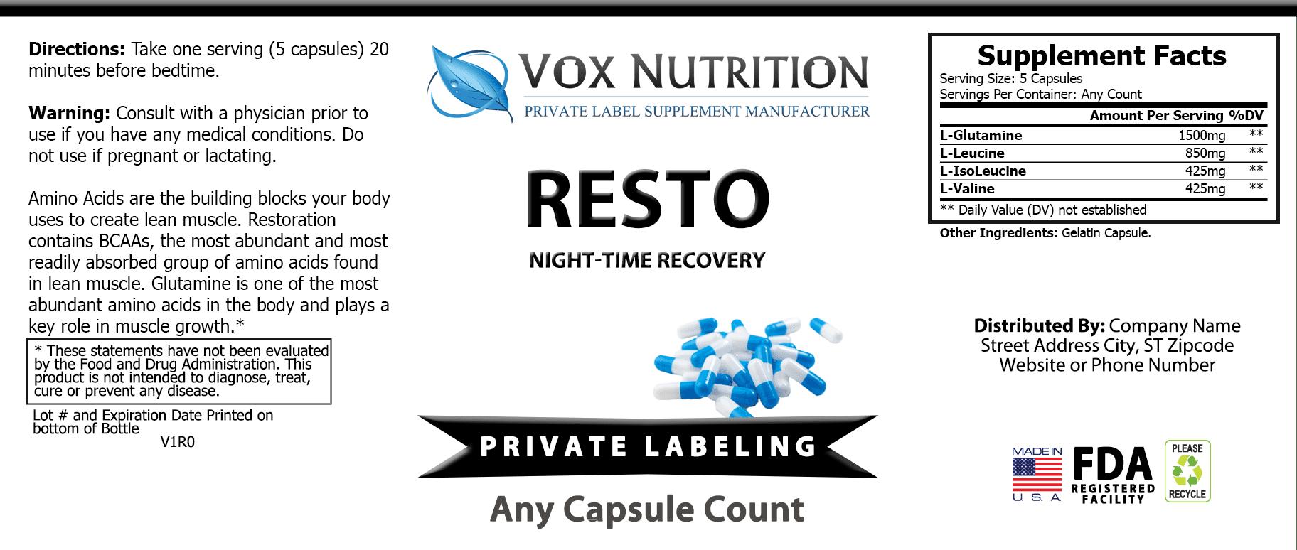 private label resto night time recovery vitamin supplement label