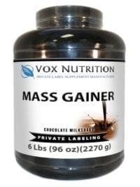 private label mass gainer protein powder supplement