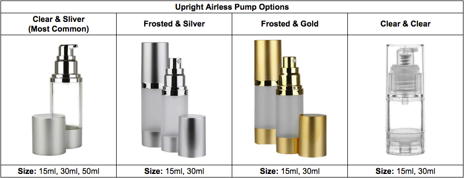 private label skin care Upright Airless Pump Options