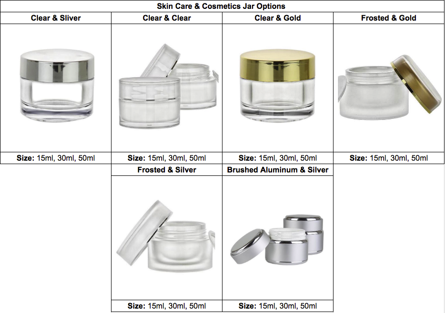 private label skin care and cosmetics jar options
