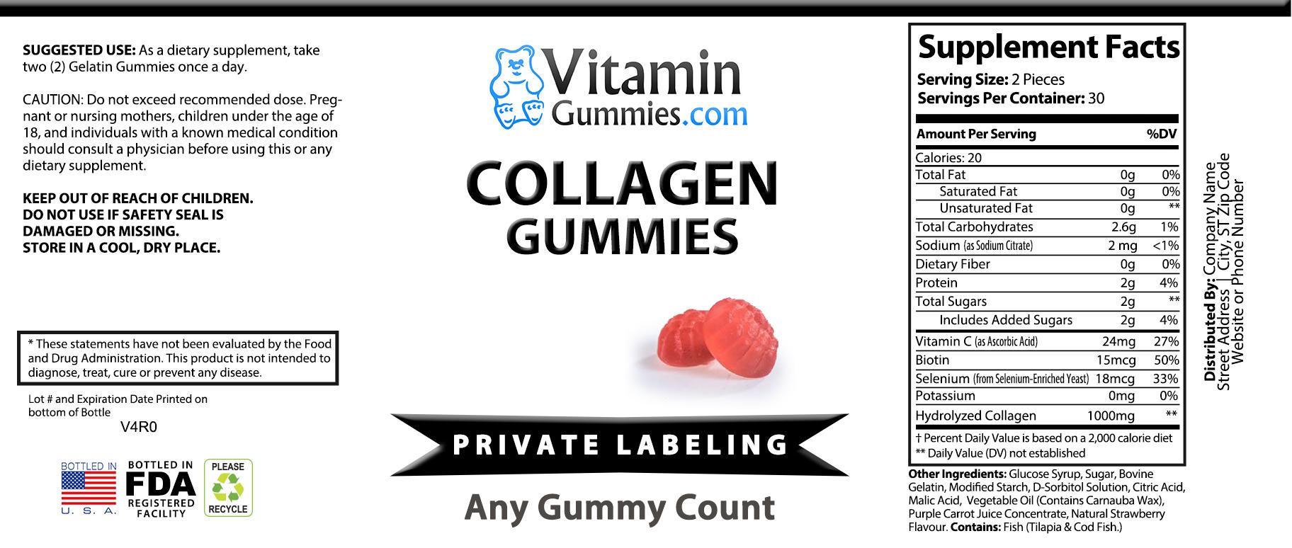 private label collagen gummy vitamin supplement label