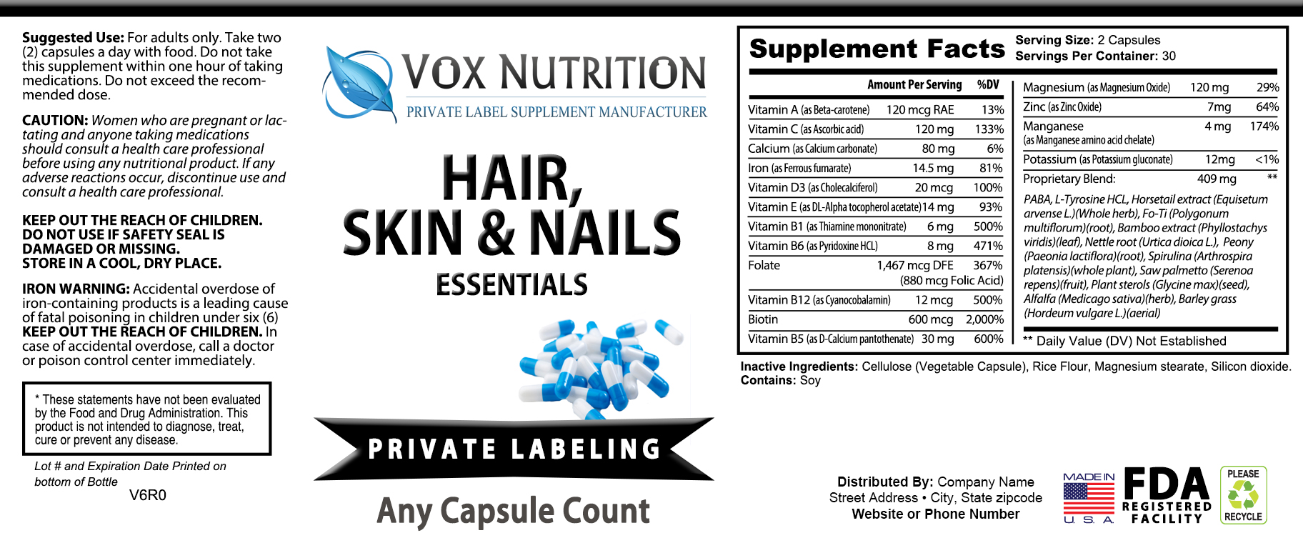 Private label hair, skin and nail vitamin supplement label