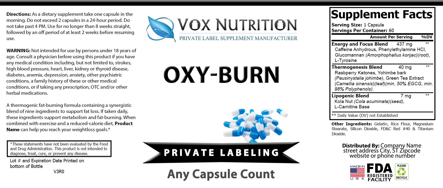 private label thermogenic weight loss supplement label